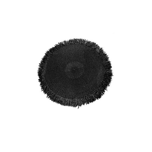 Bazar Bizar The Raffia Fringed Carpet Round - Black - 100 cm