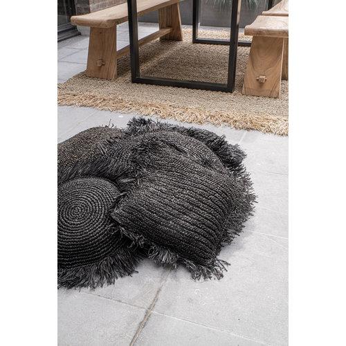 Bazar Bizar Raffia Tyynynpäällinen Pyöreä - Musta - 40 × 40 cm