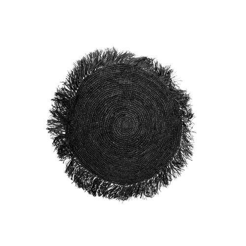 Bazar Bizar The Raffia Cushion cover Round - Black - 40 x 40 cm