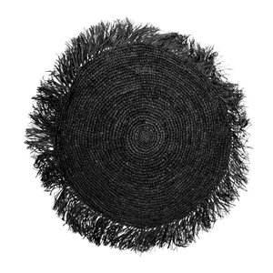 Bazar Bizar Raffia Tyynynpäällinen Pyöreä - Musta - 60 × 60 cm