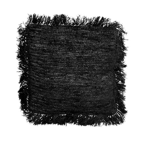 Bazar Bizar Raffia Tyynynpäällinen Neliö - Musta - 60 × 60 cm