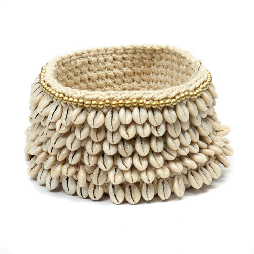 Bazar Bizar The Gold & Cowrie Macrame Planter - Natural Gold - 17 x 12 cm