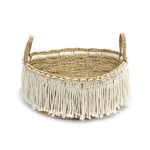 Bazar Bizar The Boho Fringe Basket - Natural White - 40 x 17 cm