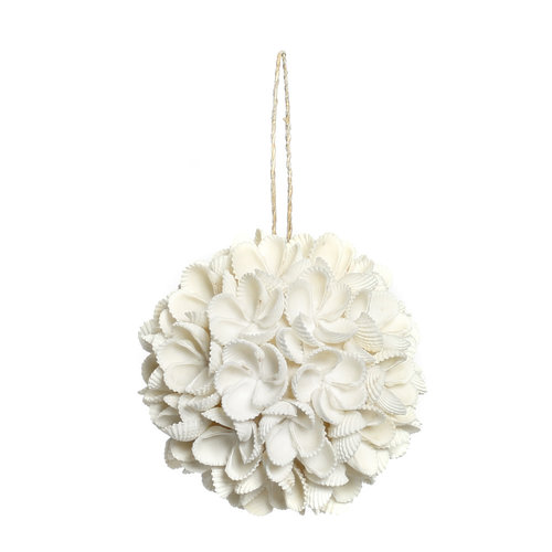 Bazar Bizar Flower Shell Koristepallo - Valkoinen - 9 cm