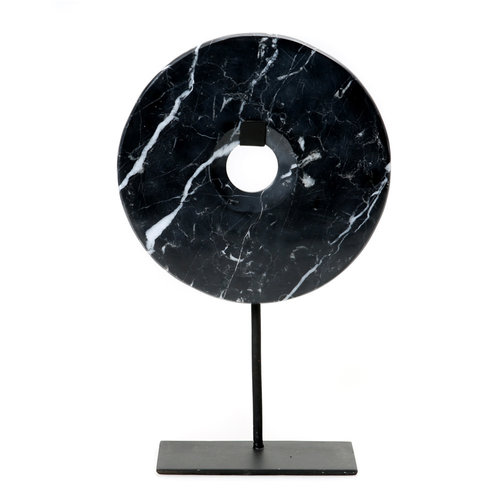 Bazar Bizar The Marble Disc on Stand - Black - 40 cm