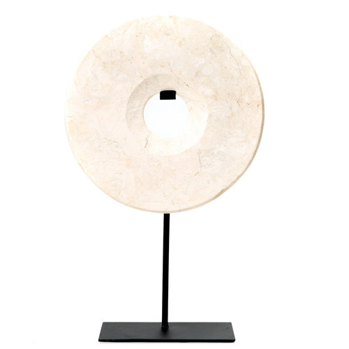 Bazar Bizar The Marble Disc on Stand - White - 40 cm