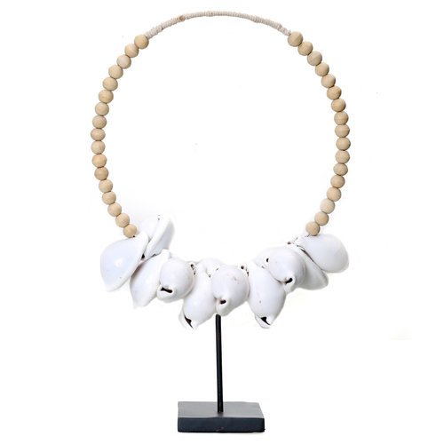 Bazar Bizar The White Cowrie Necklace Natural Wood on Stand