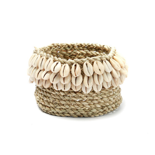 Bazar Bizar The Weaved Cowrie Basket - Natural - 15 x 8 cm
