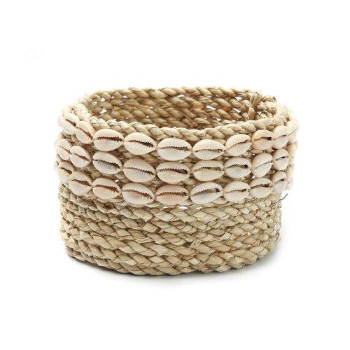 Bazar Bizar The Weaved Cowrie Basket - Natural - 15 x 8 cm