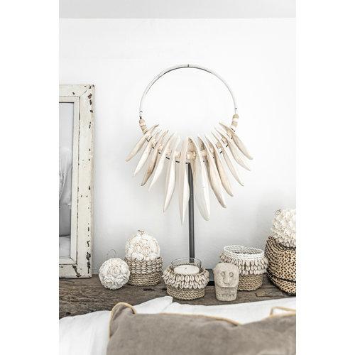 Bazar Bizar The Weaved Cowrie Basket - Natural White - 16 x 12 cm