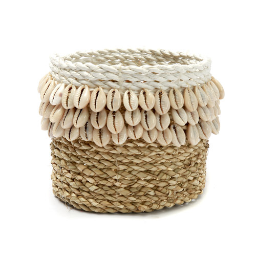 Bazar Bizar Weaved Cowrie Kori  - Natural Valkoinen - 16 × 12 cm