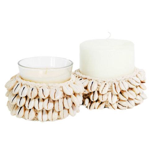 Bazar Bizar The Cowrie Macrame Candle Holder - Natural - 12 cm