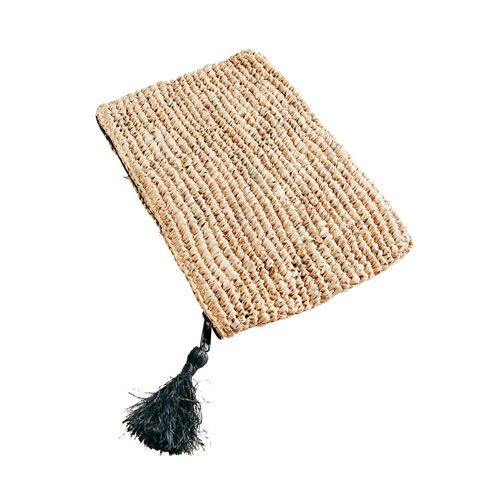 Bazar Bizar Raffia Clutch with zipper - Natural Black - Large