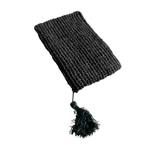 Bazar Bizar Raffia Clutch with zipper - Black - Small