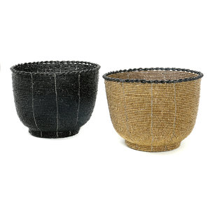 Bazar Bizar The Beaded Bowl High - Black - 13 cm