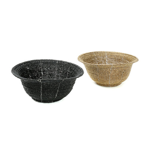 Bazar Bizar The Beaded Bowl Low - Black - 13 cm