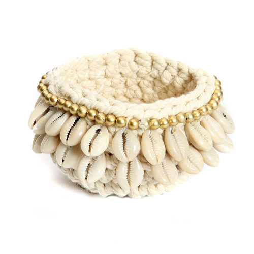 Bazar Bizar The Gold & Cowrie Macrame Candle Holder - Natural Gold - 12 cm