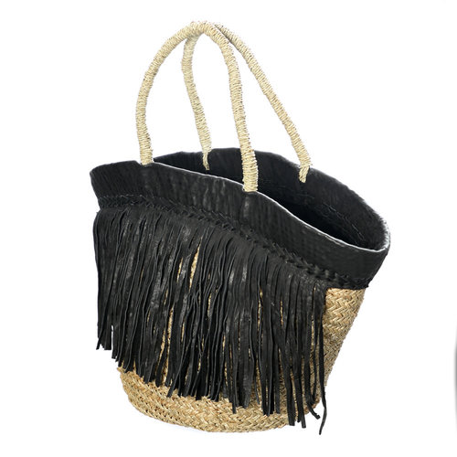 Bazar Bizar The Black Leather Fringed Basket - Natural Black