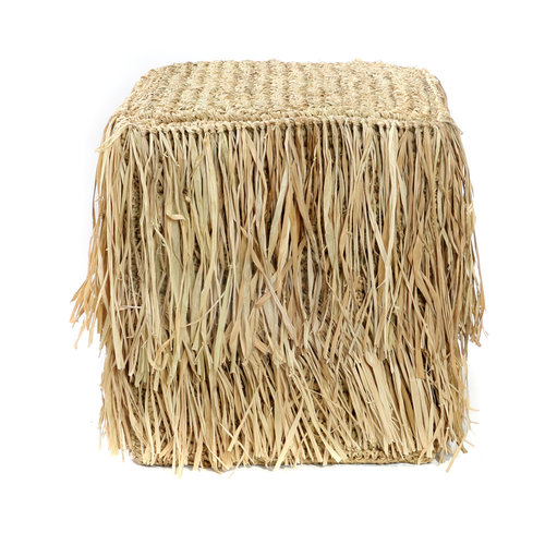 Bazar Bizar The Raffia Shaggy Stool - Square