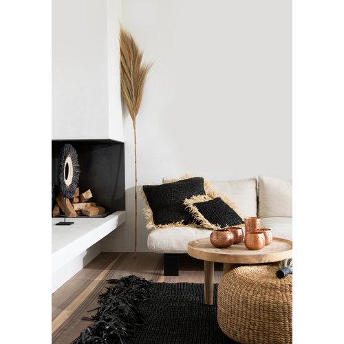 The Raffia Cushion cover Square - Black Natural - L
