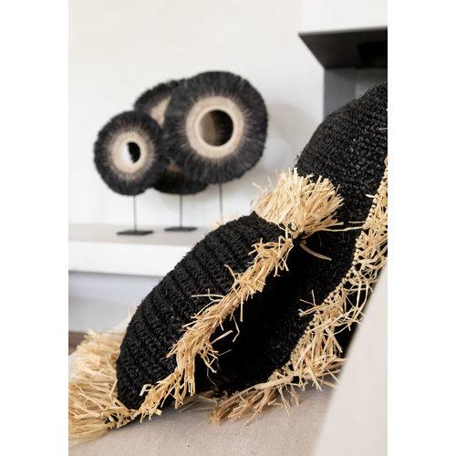 Raffia Tyynynpäällinen Neliö - Musta Natural - 60 cm