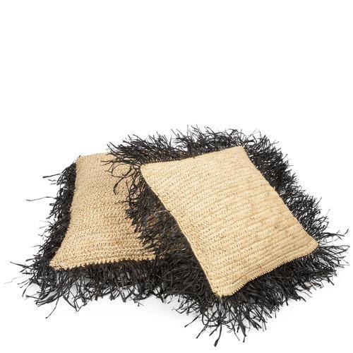 Raffia Koristetyyny Neliö - Natural Musta - 65 cm
