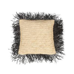 Bazar Bizar Raffia Tyynynpäällinen Neliö - Natural Musta - 40 cm