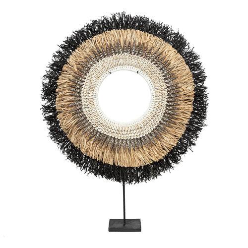 Bazar Bizar Mojo Raffia Hyllykoriste Jalustalla - Natural Musta - 50 cm