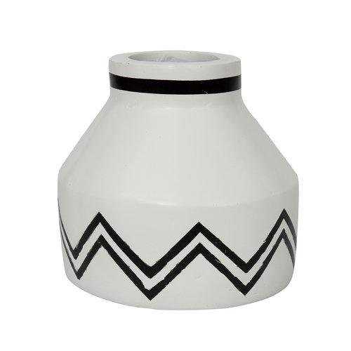 Santorini Conic Kukkamaljakko - Valkoinen Musta - 13 cm