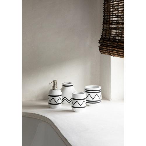 Bazar Bizar The Santorini Conic Vase  -  White Black