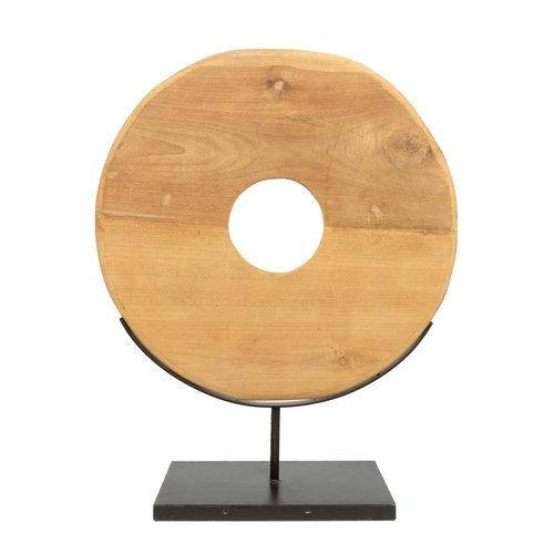 Teak Disc Hyllykoriste Jalustalla - Natural Musta - 65 cm