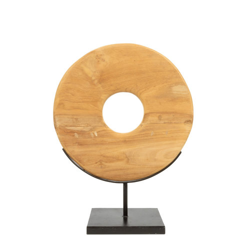Teak Disc Hyllykoriste Jalustalla - Natural Musta - 55 cm