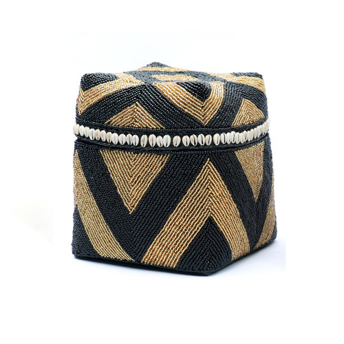 The Beaded Basket Cowrie Diamond High - Black Gold - SET3