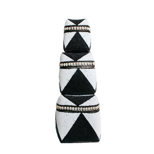 Bazar Bizar Beaded Basket Cowrie Diamond Kori Korkea - Musta Valkoinen - 3 kpl