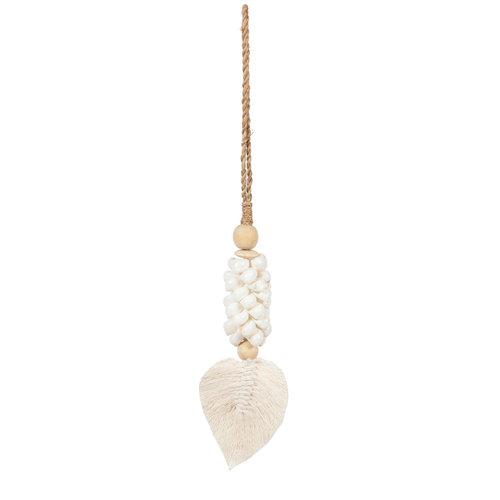 The Leaf & Shell Tassel - White