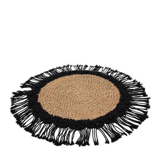 Bazar Bizar Boho Pöytäliina - Natural Musta - 40 cm