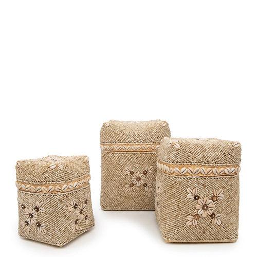 Bazar Bizar The Beaded Flowers Baskets - Natural Brown - Set of 3