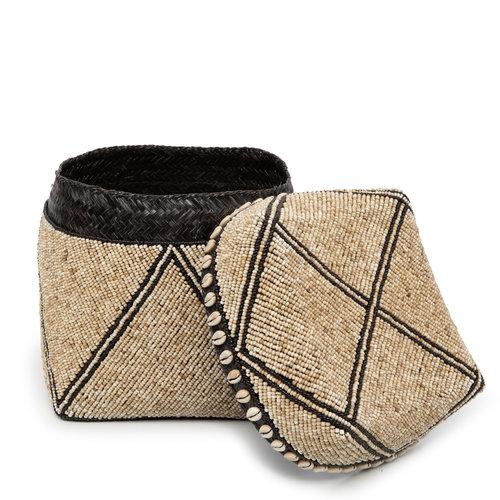 Bazar Bizar The Beaded Jagged Baskets - Natural Black - Set of 3