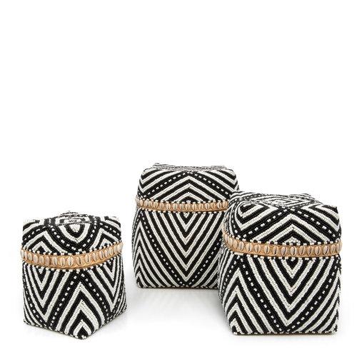 Bazar Bizar Beaded Stripes & Dots Kori - Musta Valkoinen - 3 kpl