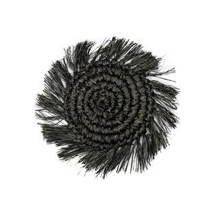 Bazar Bizar The Fringe Raffia Coaster - Black