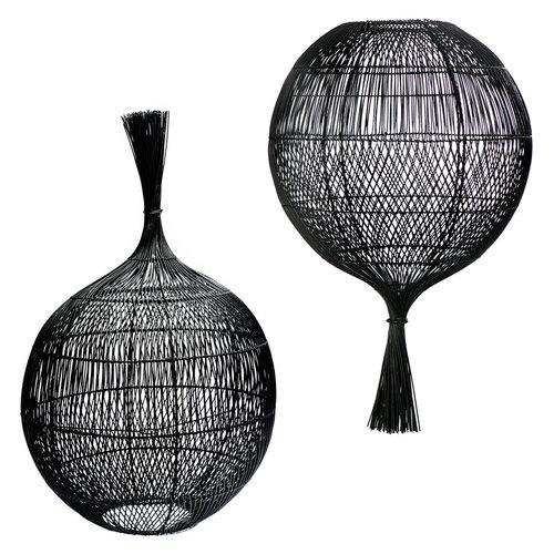 Bazar Bizar Rattan Wonton Lattiavalaisin - Kattovalaisin - Musta - 80 cm