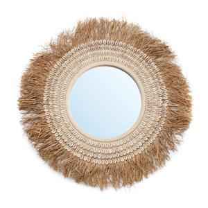 Bazar Bizar The Raffia Cowrie Mirror - Natural White