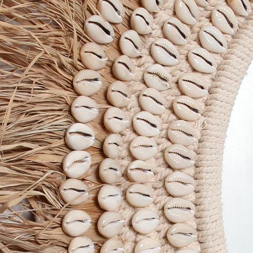Bazar Bizar Raffia Cowrie Peili - Natural Valkoinen - 75 cm