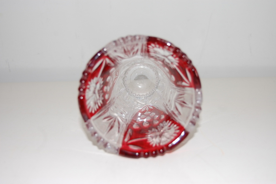Boheems rood kristallen vaas geslepen