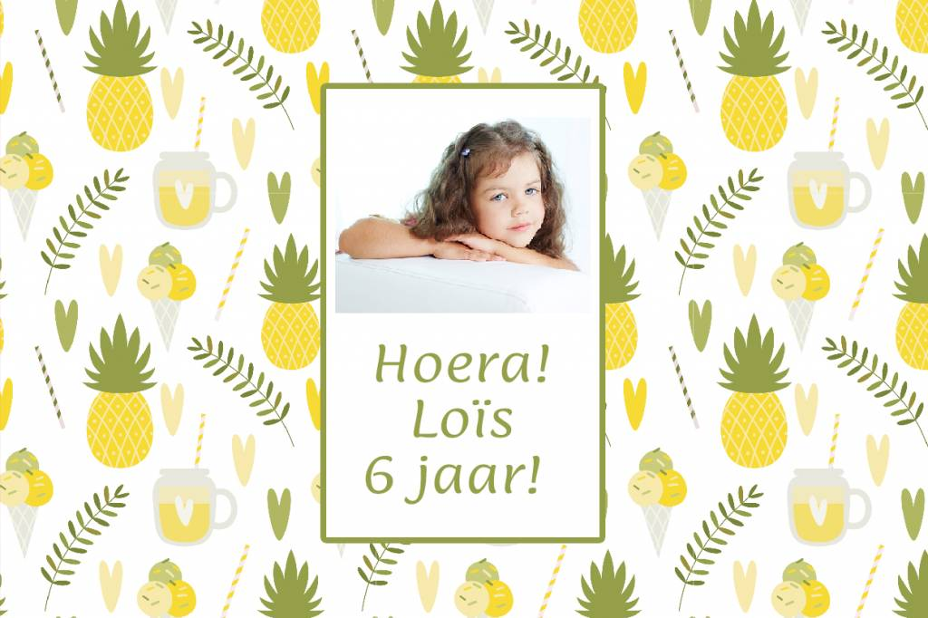 Bellenblaas ananas ijs hartje met foto en tekst naar wens