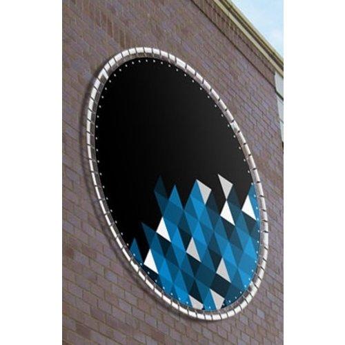 Rond spandoek incl. buizenframe  voor stenen muur of damwandplaat