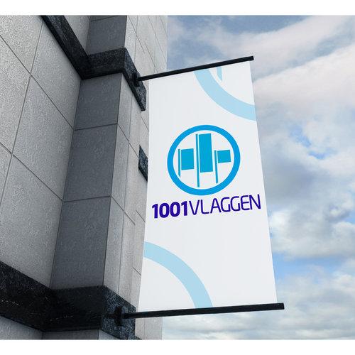 Gevelbanier PVC Banner 610 dubbelzijdig bedrukt met baniersteun (60 of 80 cm)