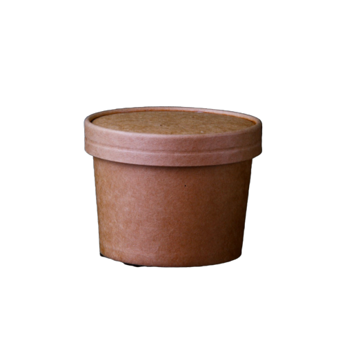 Kraft Paper Noodle Bowl with Lid - 250 Pieces - 250ml / 400ml / 500ml