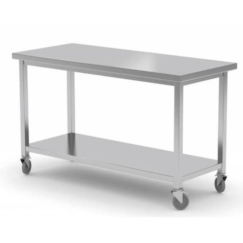 Stainless Steel Work Table With Bottom Shelf , Wheels | FREE SHIPPING & INSTALLATION