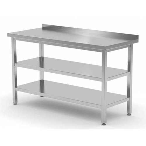 Stainless Steel Work Table With Bottom Shelf, Middle Shelf | FREE SHIPPING & INSTALLATION